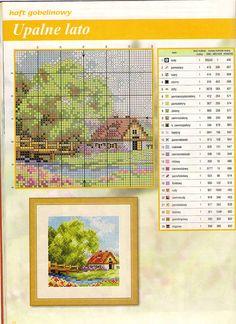 <3 spring green house on lake cross stitch