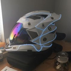 - Helmet Designs - Side view of motorcycle helmet. Shared by Motorcycle Clothing - Two-Up Bikes www. Side view of mot. Custom Motorcycle Helmets, Custom Helmets, Motorcycle Style, Motorcycle Outfit, Kids Motorcycle, Motorcycle Jackets, Futuristic Helmet, Futuristic Armour, Tactical Armor