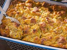 """Creamed Corn Bread Pudding (BBQ, Baseball and Big Appetites) - Nancy Fuller, """"Farmhouse Rules"""" on the Food Network."""