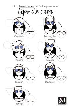 Los lentes de sol perfectos para cada tipo de cara. Encuentra más en blog.gef.com.co #MenStyle #GefMen #SunGlasses #sunglassesforyourfaceshape #Infographic
