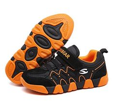 Hoxekle Breathable Velcro Tennis Shoes For Boys Girls Rubber Non-slip Soles Casual Sport Running Sneakers Black Orange 4 M US Big Kid * Read more reviews of the product by visiting the link on the image.