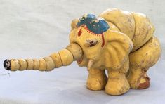 1920s Antique Vintage SHOENHUT Twistum ELEPHANT Articulated Wood Animal Toy #Shoenhut