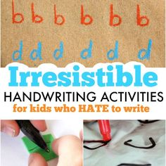 Irresistible handwriting activities that kids will love including sensory handwriting ideas, creative letter formation activities, and gross motor letter writing ideas. Kids who hate to write will love these ideas!