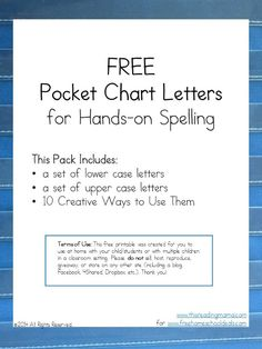 Print off these large, pocket chart sized letters and get ready for some hands-on learning. They are perfect to help kids manipulate letters to spell words.