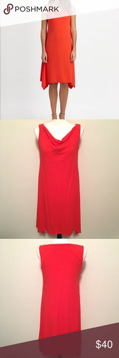 Eileen Fisher Cowl Neck Shift Dress Sz PM Petite M Eileen Fisher Cowl Neck Handkerchief Hem Orange/Red Shift Dress Size PM Petite Medium Eileen Fisher Dresses