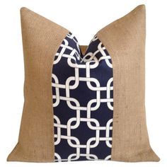 Burlap and cotton pillow with a links motif.  Product: ...