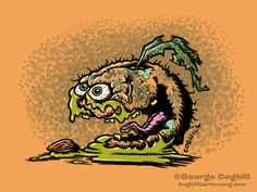 """Abominable Apricot"" Food Fruit Lowbrow Cartoon Character Sketch."