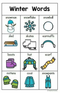 Winter Writing Center Packet offers a variety of writing activities for kindergarten in January. English Words, English Lessons, Learn English, English Activities, Writing Activities, Writing Centers, Writing Center Preschool, Winter Words, Kindergarten Writing