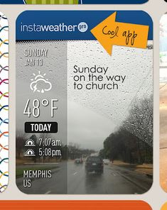 Instaweather app to put current weather on your photo. Good size for Project Life / pocket scrapping