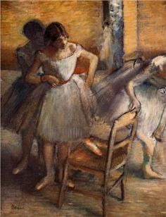 'Dancers' (c.1895-1900) by French artist Edgar Degas (1834-1917). Oil on canvas. via WikiPaintings