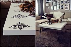 IKEA LACK, IKEA Hack, stenciled coffee table, custom made hairpin legs, DIY.. When You Get Sick of Dull Coffee Table