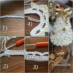 Hawwa57 - Szydełkowe dzergadła: Choineczka z włóczki Crochet Christmas Decorations, Crochet Christmas Trees, Christmas Crochet Patterns, Holiday Crochet, Christmas Crafts, Crochet Tree, Crochet Angels, Crochet Flower Patterns, Crochet Flowers