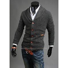 486ba731083890   22.91  Duopindun Men Casual Slim Fit V-neck Knitted Cardigan Pullover  Jumper Sweater