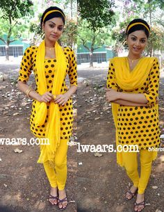 Tamil Actress Ambuja in Yellow Polka Dots Salwar Kameez - Indian Dresses Retro Theme Dress, 90s Theme Party Outfit, Themed Outfits, Retro Dress, Bollywood Suits, Bollywood Theme, Bollywood Fashion, Look 80s, Retro Look