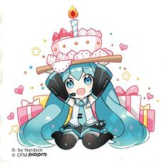 Hatsune Miku and a cake Dibujos Anime Chibi, Chibi Anime, Manga Anime, Anime Art, Kawaii Anime, Kawaii Chibi, Cute Chibi, Happy Birthday Drawings, Another Anime