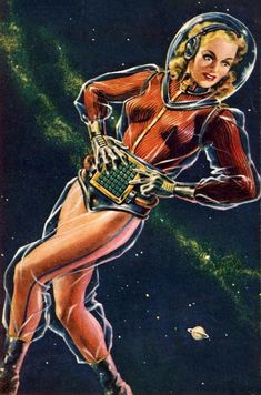 (Don Sibley's cover for the November 1950 issue of Galaxy) When we conjure the image of a science fiction pulp heroine we often imagine a character who has to be rescued by men from a… Arte Sci Fi, Sci Fi Art, Pulp Magazine, Magazine Art, Science Fiction Kunst, Art Pulp, Sci Fi Comics, Arte Tribal, Space Girl