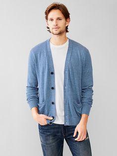 Linen-cotton V-neck cardigan