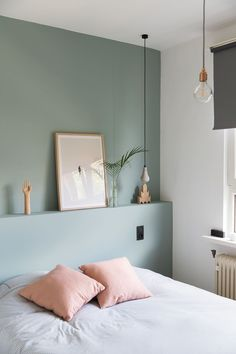 Marvelous Tricks: Chic Minimalist Bedroom Lamps minimalist home inspiration woods.Minimalist Bedroom Interior Sleep minimalist home inspiration house tours.Colorful Minimalist Home Stairs. Bedroom Green, Home Bedroom, Bedroom Decor, Green Rooms, Design Bedroom, Calm Bedroom, Mint Bedroom Walls, Blue And Pink Bedroom, Accent Wall Bedroom