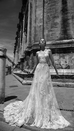 alon livne 2017 bridal sleeveless halter neck heavily embroidered bodice tulle lace skirt romantic a line wedding dress rasor back chapel train (taylor) mv