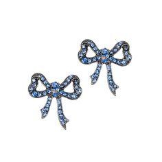 Betsey Johnson Crystal Bow Studs from LittleBlackBag.com  ::Light blue:: Earrings:: Bow