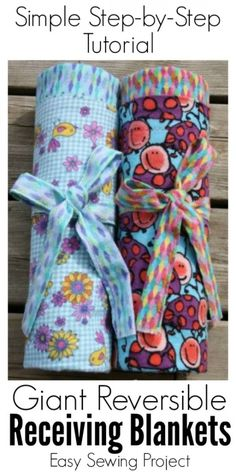 Ideas Sewing Baby Diy Receiving Blankets For 2019 Baby Sewing Projects, Sewing Projects For Beginners, Sewing For Kids, Sewing Crafts, Diy Projects, Crochet Projects, Couture Bb, Do It Yourself Baby, Easy Baby Blanket