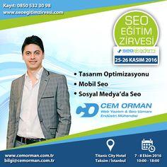 25 - 26 Kasım tarihlerinde Seo Akademi'nin düzenlemiş olduğu Seo Eğitim Zirvesi'nde Tasarım Optimizasyonu, Mobil Seo ve Sosyal Medya'da Seo Eğitimi vereceğim. Kayıt olmak için: www.seoegitimzirvesi.com www.cemorman.com.tr