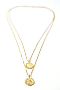 Mohala necklace - a gold layered necklace om and lotus necklace www.kealohajewelry.com