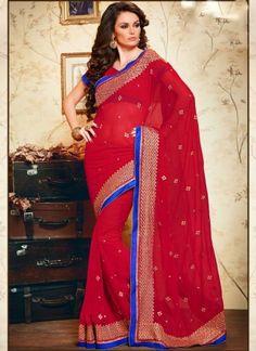 Alluring Red Chiffon With Work Casual Saree http://www.angelnx.com/Sarees/Designer-Sarees