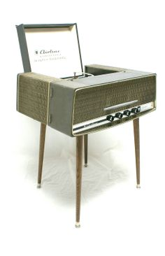 Mid Century Modern Stereo Record Player Console Airline Bluetooth