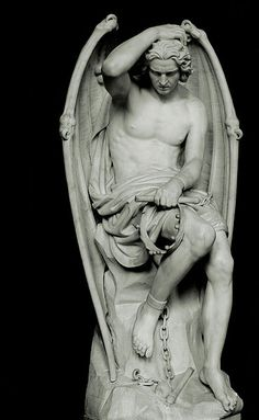 Le génie du mal - Lucifer sculpture by Guillaume Geefs. Though the original was destroyed because the church believed women would find themselves attracted to Lucifer, a copy now sits in St. Cemetery Angels, Cemetery Art, Angels Among Us, Angels And Demons, Statue Ange, Josie Loves, Arte Obscura, Angel Art, Pablo Picasso