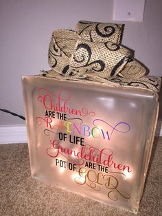 Lighted Glass Block Grandchildren by QueenBCreations1 on Etsy