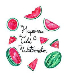 Watercolor Watermelon, Melon Print Kitchen Wall Gallery Home Decor Watercolor Fruit Colorful Art