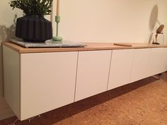 Lined up three Sektion cabinets (designed for top of refrigerator) side-by-side to create a floating sideboard - Album on Imgur