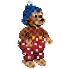 Rasmus Klump Perler Beads, Beading Patterns, Helmet, Teddy Bear, Toys, Disney, Animals, Inspiration, Projects To Try