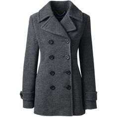 Lands' End Women's Petite Wool Peacoat ($179) ❤ liked on Polyvore featuring outerwear, coats, grey, gray peacoat, petite coats, lands' end, grey peacoat and grey coat
