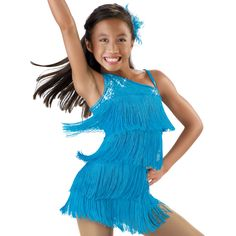 Sequin-One Shoulder Fringe Dance Costume; Jazz