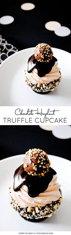 Chocolate Hazelnut Truffle Cupcake   dark chocolate ganche with hazelnuts, topped with milk chocolate buttercream, more ganache and a hazelnut crunch...