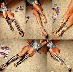 KNEE-HIGH-CUT-OUT-BOOTS-STRAPPY-GLADIATOR-SANDALS-FLAT-HEEL-ROMAN-272-3-4-5-6-7