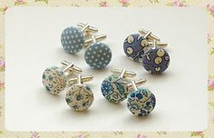 fabric covered button cufflinks