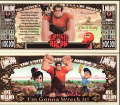 Buy any four Novelty Bills listed at and get a fifth one FREE! Wreck-It Ralph. These bills are printed on paper. To receive a free bill, you must order in Lots of Don't Wait, Buy it Now! One Million Dollar Bill, One Million Dollars, Disney Images, Disney Art, Disney Money, Monopoly, Weird Stuff On Amazon, Disney Activities, Disney Movie Characters
