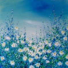 Oil painting on canvas of wild Spring flowers in the countryside, South of France.  Size: 30 × 30 × 1.7 cm Oil Painting on Canvas One of a kind Artwork