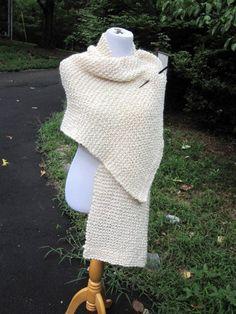 Cream Homespun Knit Prayer Wedding Shawl with a by PoppyLesti, $70.00