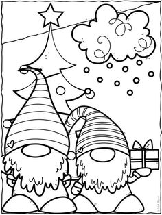 Christmas Gnome, Christmas Colors, Christmas Projects, Kids Christmas, Holiday Crafts, Xmas, Colouring Pages, Printable Coloring Pages, Coloring Books