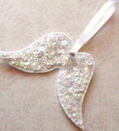Sparkling sequin angel wings felt by LittleBirdHouse on Etsy, $5.80