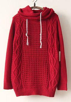 Red Plain Lotus Collar Long Sleeve Acrylic Sweater