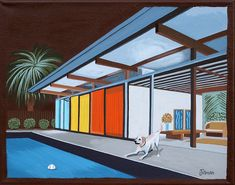POOL SIDE AT NIGHT White Lab loses ball in pool at night. Mid century modern style. This is a limited edition (200 prints) print by Linda