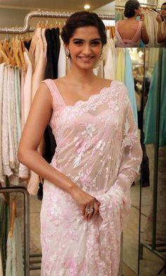 Sonam Kapoor in Saree - Buy lehenga choli online Sonam Kapoor Saree, Bollywood Saree, Bollywood Fashion, Bollywood Actress, Sabyasachi, Lace Saree, Chiffon Saree, Saree Dress, Pink Saree