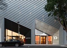 Tom Ford's store in the Miami Design District features an angular facade that references bold Art Deco motifs.
