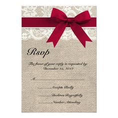 Lace Save the Date Wedding Ivory Lace Red Ribbon and Burlap Wedding RSVP Card
