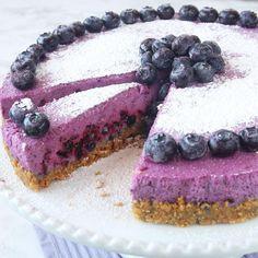 Lindas blåbärscheesecake Fika, Strudel, Plant Based Recipes, Cheesecakes, Tiramisu, Mousse, Tart, Deserts, Food Porn